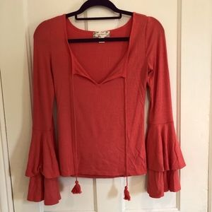Coral Colored Bell Sleeve Top